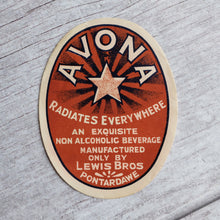 Load image into Gallery viewer, Avona vintage drinks bottle label