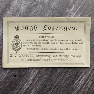 Cough Lozenges Victorian apothecary small paper envelope.