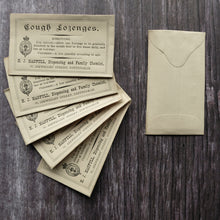 Load image into Gallery viewer, Cough Lozenges Victorian apothecary small paper envelope.
