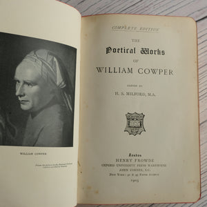 Red leather bound Cowper's Poetical Works 1905