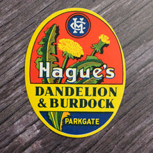 Load image into Gallery viewer, Dandelion & Burdock vintage drinks bottle label from Hague's