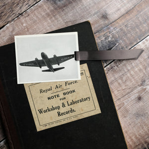 Aircraft recognition card bookmark.  Photograph, grey designs.