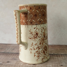 Load image into Gallery viewer, Large vintage jug with chrysanthemum design in neutural brown and cream