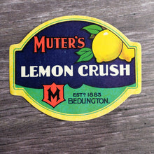 Load image into Gallery viewer, Muter's Lemon Crush large vintage drinks bottle label