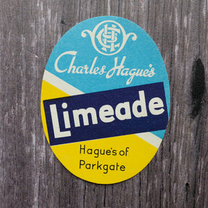 Limeade vintage drinks bottle label from Hague's of Parkgate