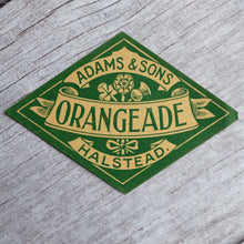 Load image into Gallery viewer, Vintage Orangeade drinks bottle label Adams & Sons