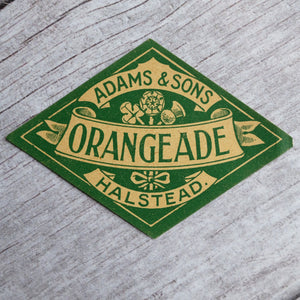 Vintage Orangeade drinks bottle label Adams & Sons