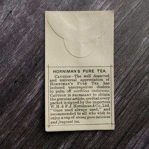 Alternative version Horniman's Pure Tea small paper envelope from a Victorian apothecary.