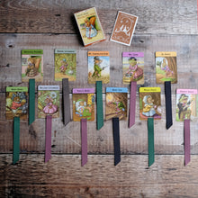 Load image into Gallery viewer, Woodland Snap vintage card game bookmark.  Racey Helps illustrations.