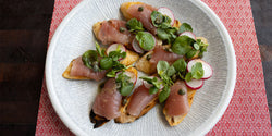 Tuna Crudo with Horseradish Bagna Cauda, Radish and Capers