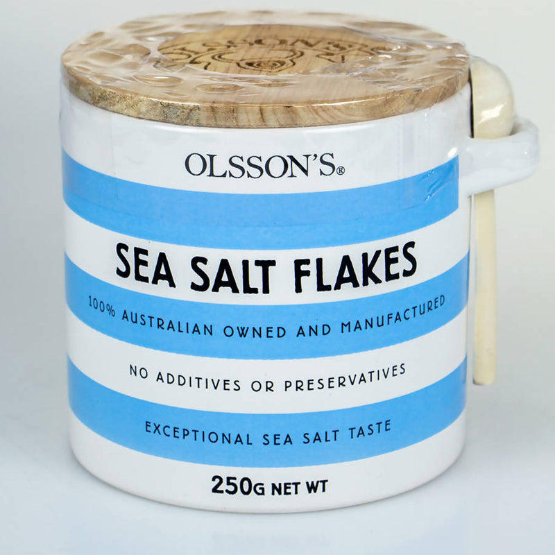 Olsson's Sea Salt Flakes in Cornishware Pot - 250gm