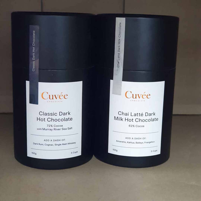 1x Cuvee Classic Dark Hot Chocolate & 1x Chai Latte Dark Milk Hot Chocolate - 150g
