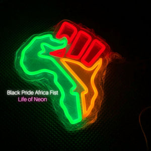Africa Black Fist Neon Sign