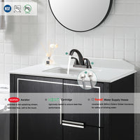 PARLOS Two-Handle Bathroom Sink Faucet with Drain Assembly and Supply Hose Lead-free CUPC Mixer Double Handle Tap Deck Mounted Oil Rubbed Bronze (13597)