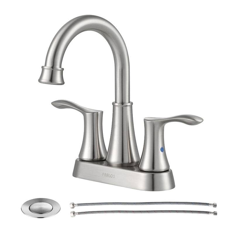 PARLOS Swivel Spout 2-handle Lavatory Faucet Brushed Nickel Bathroom Sink Faucet with Pop-up Drain and Faucet Supply Lines, Demeter  (13627)