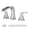 PARLOS Waterfall Widespread Bathroom Faucet Double Handles with Pop Up Drain & cUPC Faucet Supply Lines, Brushed Nickel, Doris (14070)