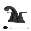 PARLOS 2 Handles Bathroom Faucet with Pop-up Drain and Faucet Supply Lines, Oil Rubbed Bronze, Doris (14133)