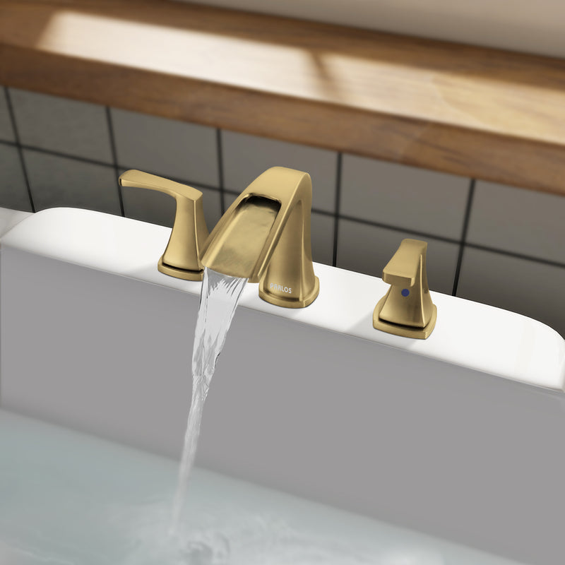 PARLOS 2-Handle Widespread Waterfall Roman Bathtub Faucet Tub Filler, Brushed Gold