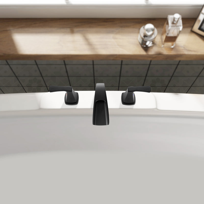 PARLOS 2-Handle Widespread Waterfall Roman Bathtub Faucet Tub Filler, Matte Black (1434204)
