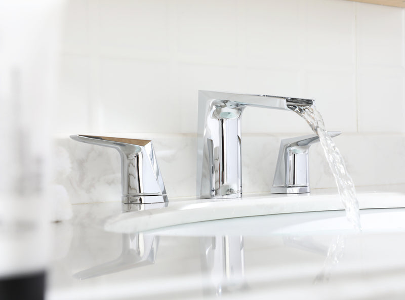 EZANDA 2-Handle Widespread Waterfall Bathroom Lavatory Faucet with Pop-up Sink Drain Assembly & Faucet Supply Lines, Chrome (1431201)