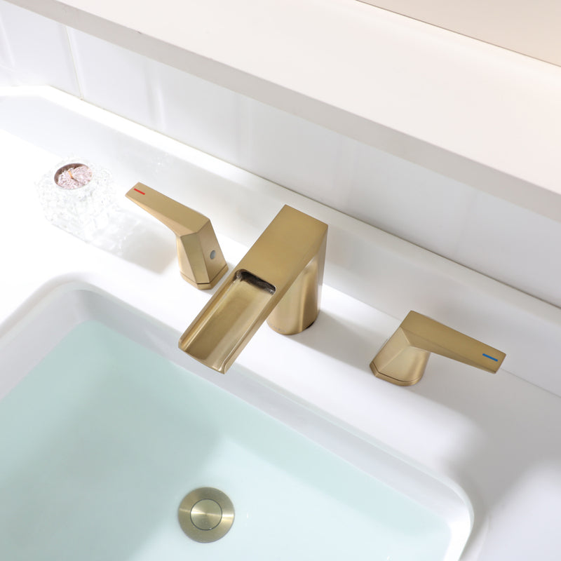 EZANDA 2-Handle Widespread Waterfall Bathroom Lavatory Faucet with Pop-up Sink Drain Assembly & Faucet Supply Lines, Brushed Gold(1431208)