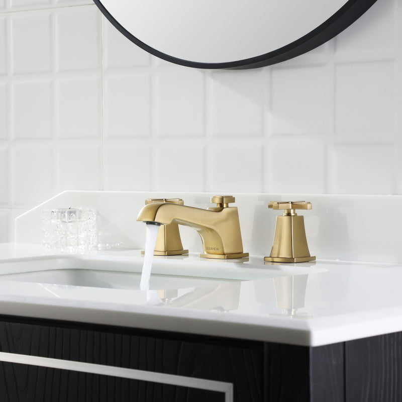 EZANDA 2-Handle Widespread Bathroom Faucet Cross handle 3 Hole Metal Pop-up Sink Drain Supply Lines Brushed Gold (1433608)