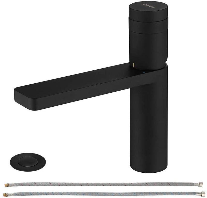 EZANDA Brass Single Handle Bathroom Faucet with Deck Plate, Pop-up Sink Drain Assembly & Faucet Supply Lines, Matte Black (1416404)
