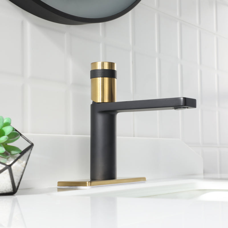 EZANDA Brass Single Handle Bathroom Faucet with Deck Plate, Pop-up Sink Drain Assembly & Faucet Supply Lines,Matte Black with Brushed Gold (1416410)