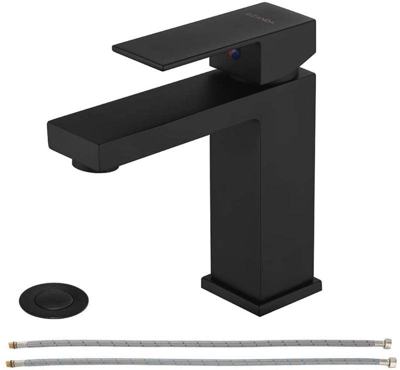EZANDA Brass Single-Handle Bathroom Sink Faucet with Escutcheon, Pop Up Drain Stopper & Water Supply Hoses, Matte Black (14253)