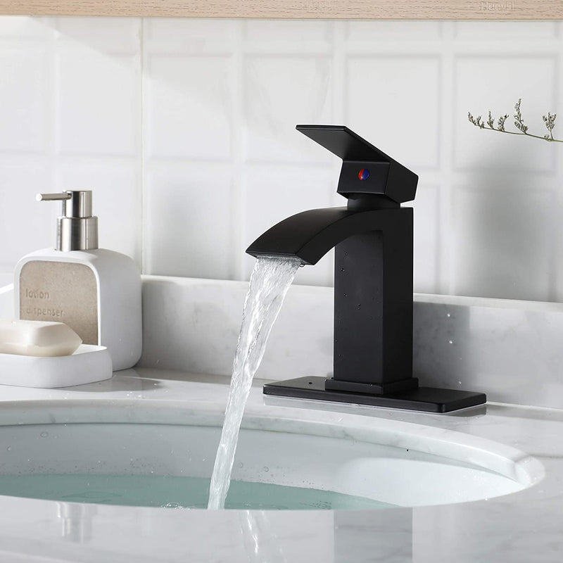 EZANDA Brass Waterfall Bathroom Faucet Large Rectangular Spout Pop-up Drain Assembly & Water Supply Hoses Matte Black(14254)