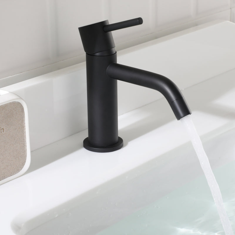 EZANDA Brass Single Handle Bathroom Faucet with Pop-up Sink Drain Assembly & Faucet Supply Lines, Matte Black (1431104)