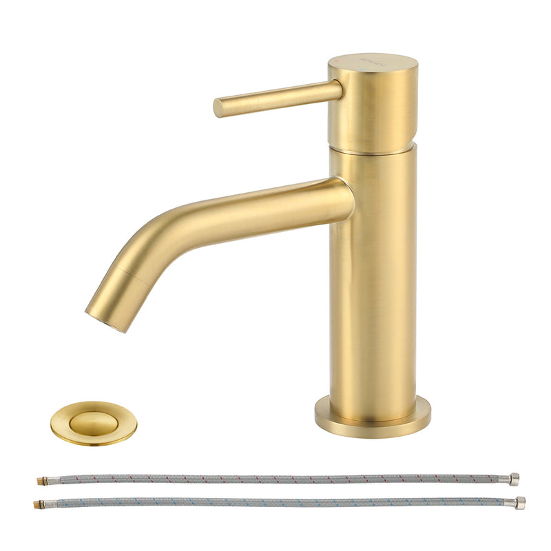 EZANDA Brass Single Handle Bathroom Faucet with Pop-up Sink Drain Assembly & Faucet Supply Lines, Brushed Gold (1431108)