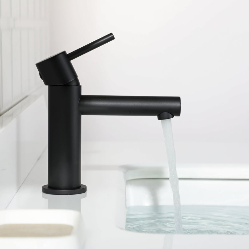EZANDA Brass Bathroom Faucet with Drain Assembly, Lavatory Faucet with Faucet Supply Lines & Water Supply Hoses Included, Matte Black (1432004)