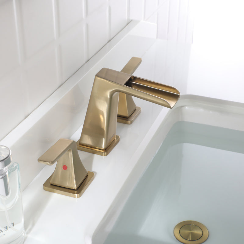 EZANDA Two-Handle Widespread Waterfall Faucet, 3 Hole Bathroom Sink Faucet with Metal Pop-up Sink Drain & Faucet Supply Lines, Brushed Gold (1432708)