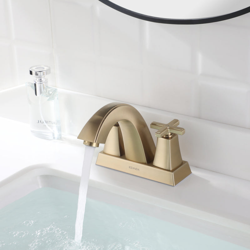 EZANDA 2-Handle Bathroom Sink Faucet Cross handle 4 Inch Centerset Metal Pop-up Sink Drain Supply Lines Brushed Gold (1433508)