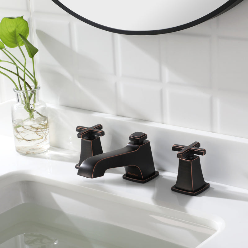 EZANDA Brass 2-Handle Widespread Bathroom Sink Faucet with Metal Pop-up Sink Drain & Supply Lines, Oil Rubbed Bronze (1433603)