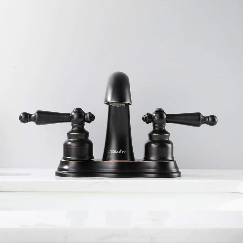 NEWATER Two-Handle Centerset Three Hole Bathroom Sink Faucet with Pop Up Drain Mixer Tap Deck Mounted Oil Rubbed Bronze (016811-2)