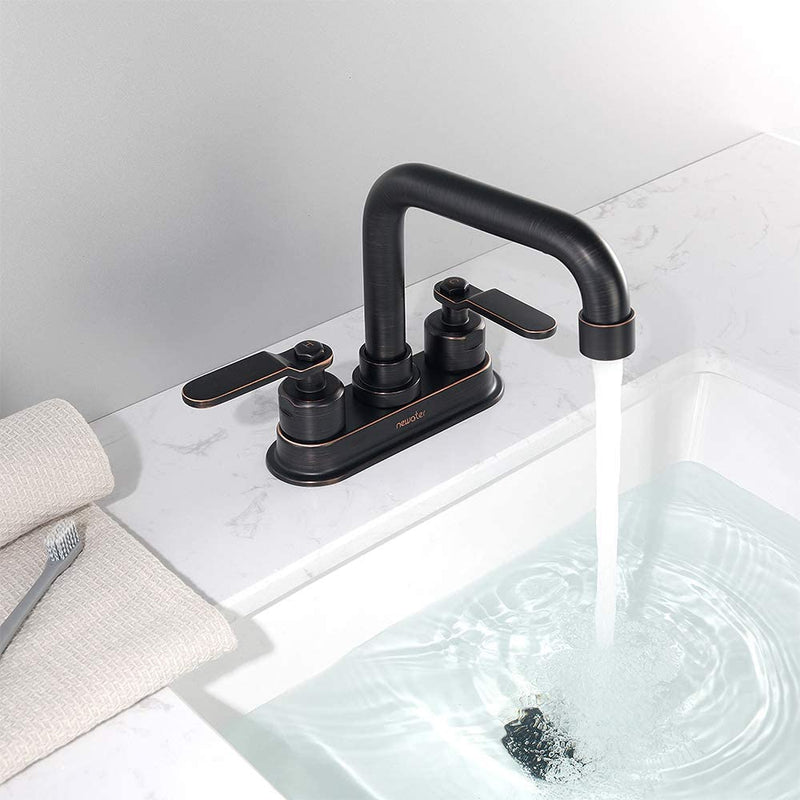 NEWATER 2-Handle 4 Inch Centerset Bathroom Sink Faucet with Metal Pop-up Sink Drain Lavatory Faucet Mixer Tap Deck Mounted Oil Rubbed Bronze (3002021)