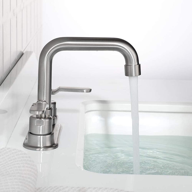 NEWATER Two-Handle 4 Inch Centerset Bathroom Sink Faucet with Metal Pop-up Sink Drain Lavatory Faucet Mixer Tap Deck Mounted Brushed Nickel (3002031)