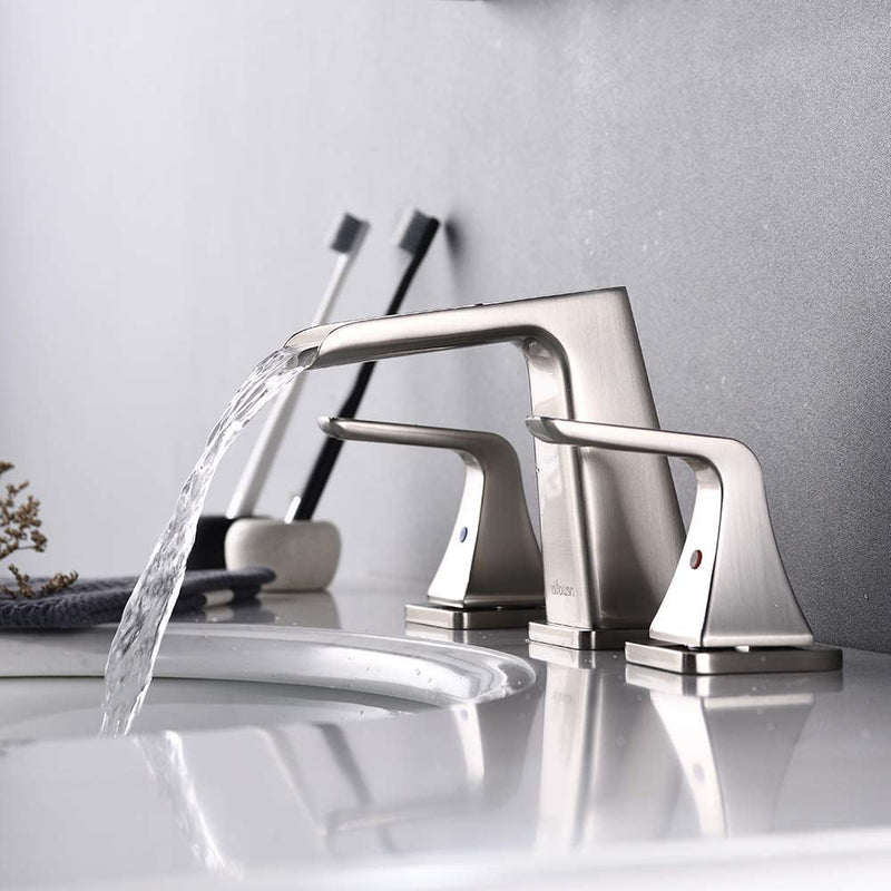 NEWATER Bathroom Sink 2-Handle Waterfall 8-Inch Widespread Faucet Three Hole Metal Pop-up Drain Assembly Brushed Nickel (36451)