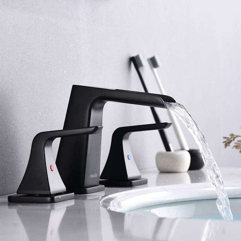 NEWATER Bathroom Sink Two-Handle Waterfall Faucet 8-Inch Widespread Metal Pop-up Drain Assembly Supply Lines Matte Black (38801)