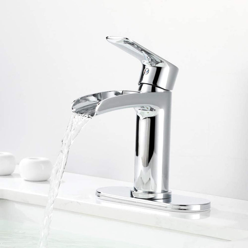 NEWATER Waterfall Spout Bathroom Sink Faucet Basin Mixer Tap Polished Chrome Single Handle(71011)