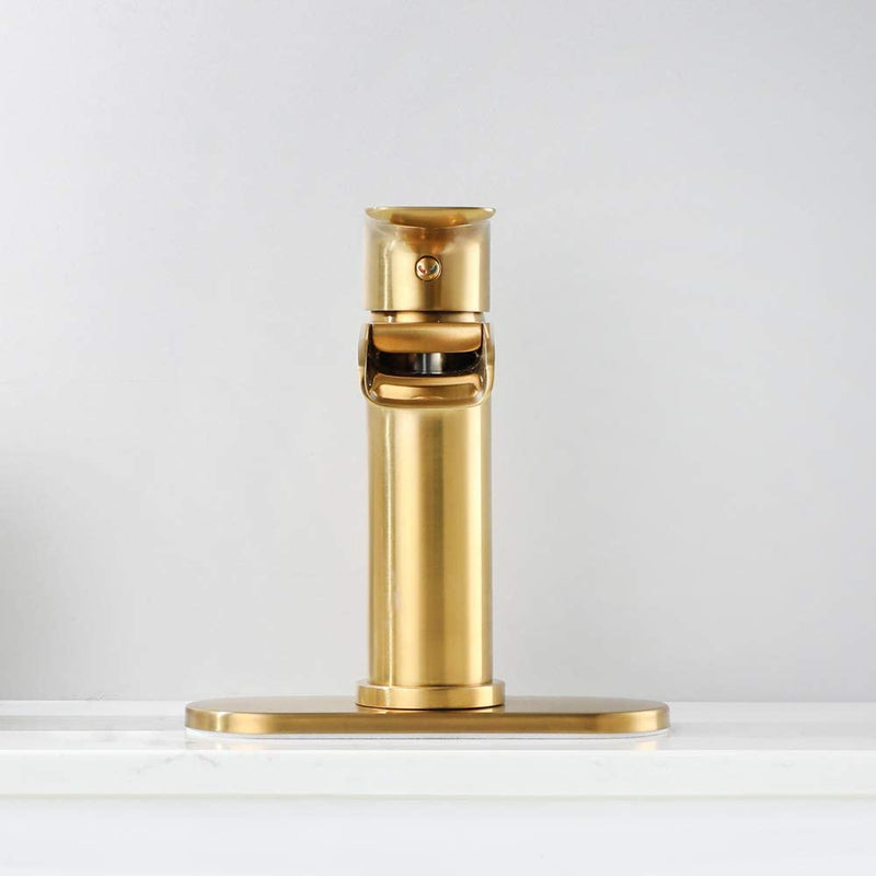 NEWATER Waterfall Spout Bathroom Sink Faucet Basin Mixer Tap Brushed Gold Single Handle(72231)