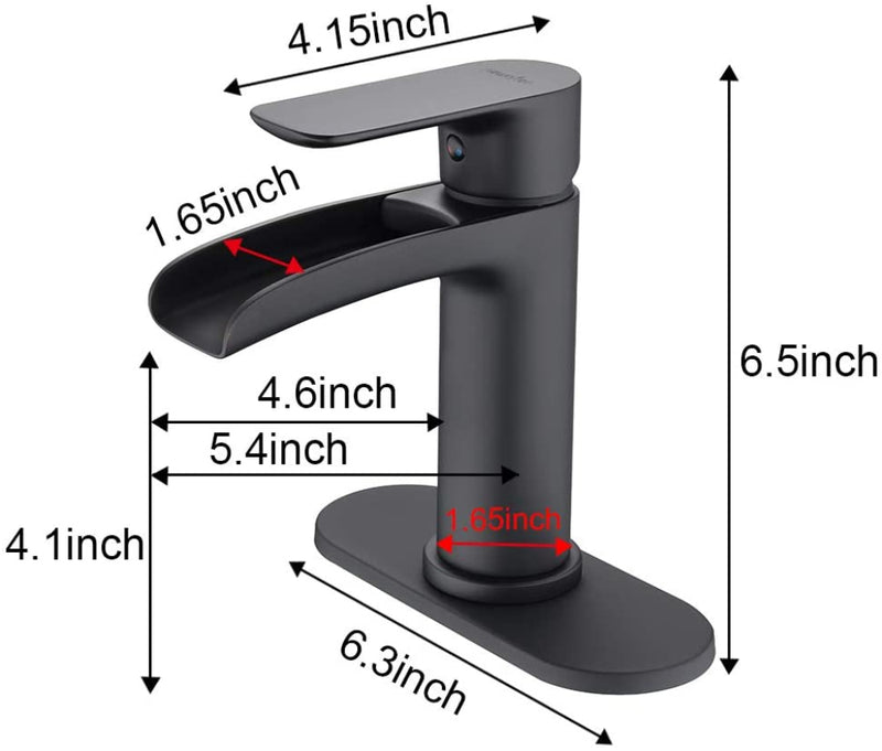 NEWATER Waterfall Spout Brass Bathroom Sink Faucet Basin Mixer Tap Matte Black Single Handle (78171)