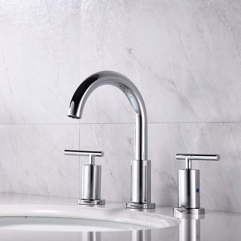 NEWATER 2-Handle 8 inch Widespread Three Hole Bathroom Sink Faucet Supply Lines Basin Faucet Mixer Tap Polished Chrome(CWF030-C)