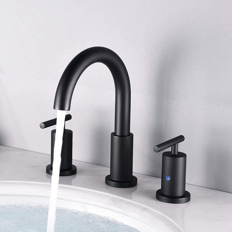 NEWATER Two Handle 8 inch Widespread Three Hole Bathroom Sink Faucet Supply Hoses Basin Faucet Mixer Tap Matte Black(CWF030-MB)