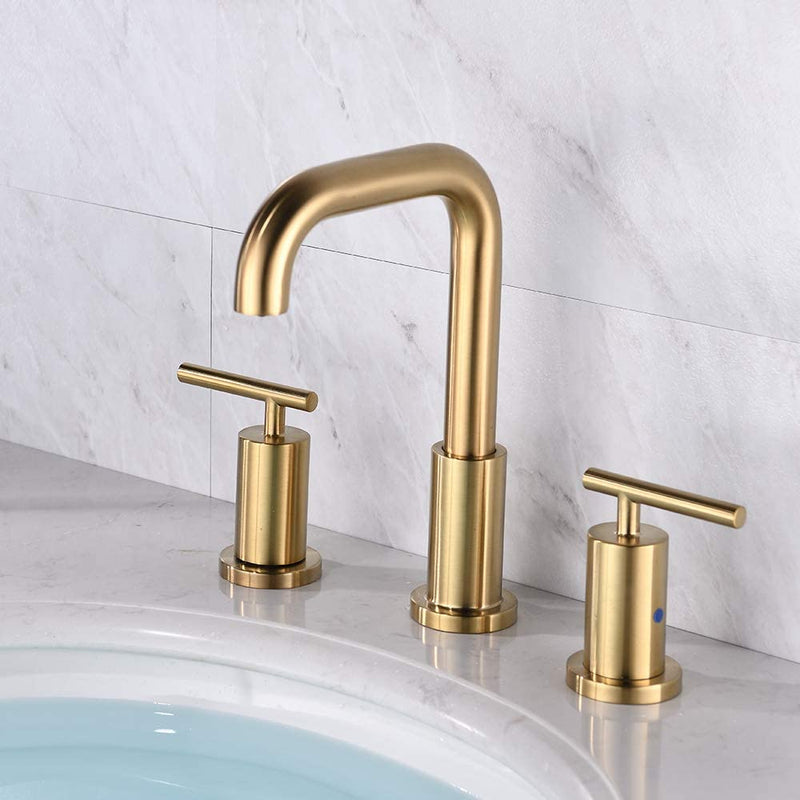 NEWATER 2-Handle 8 inch Widespread Three Hole Bathroom Sink Faucet Supply Lines Basin Faucet Mixer Tap Brushed Gold(CWF030B-BG)