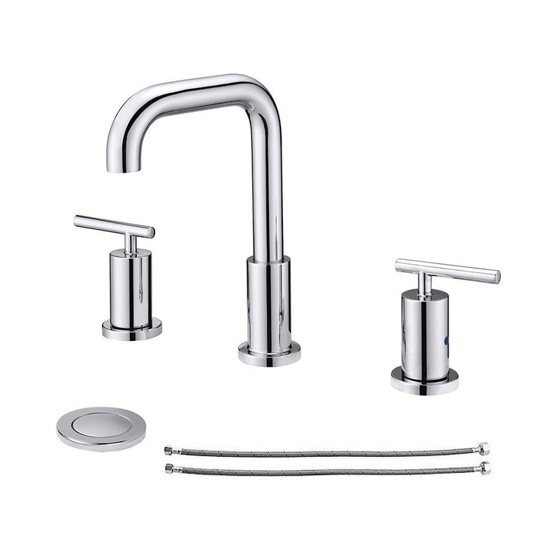 NEWATER Two Handle 8 inch Widespread Three Hole Bathroom Sink Faucet Hoses Basin Faucet Mixer Tap Polished Chrome(CWF030B-C)