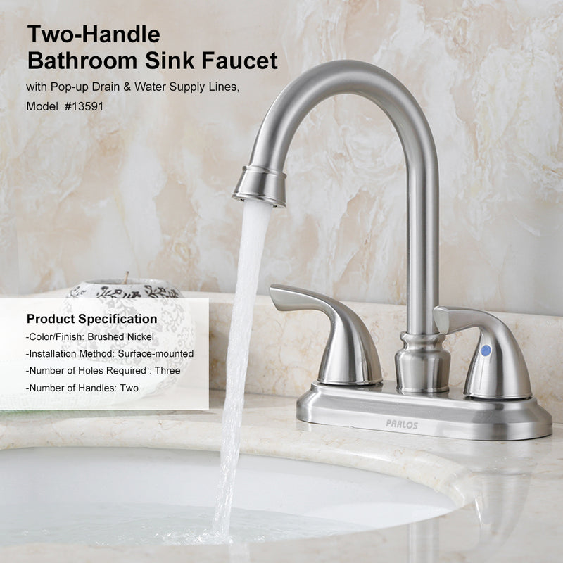 PARLOS Two-Handle Bathroom Sink Faucet with Metal Drain Assembly cUPC Mixer Double Handle Faucet Brushed Nickel (13591)
