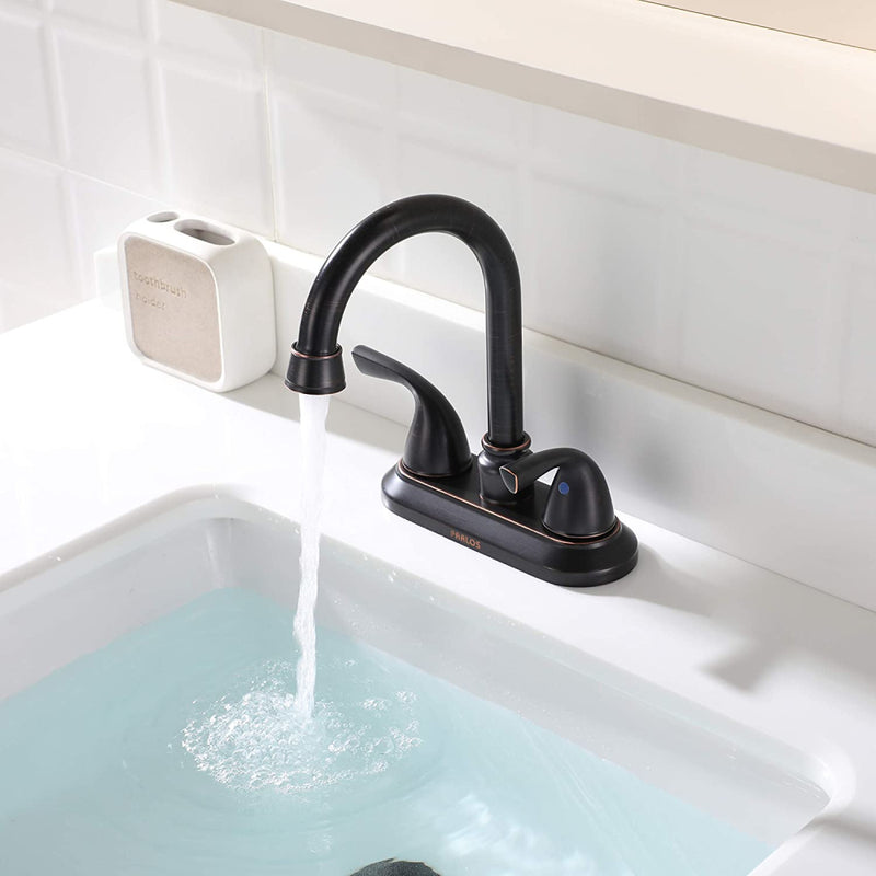PARLOS Double-Handle Lavatory Faucet with Metal Drain Assembly cUPC Bathroom Two-Handle Oil Rubbed Bronze (13592)